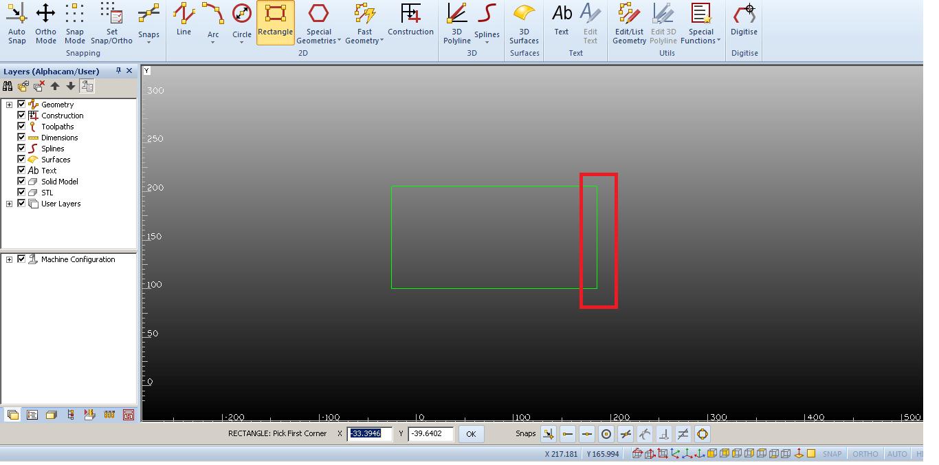 Geometria rectangulo en Alphacam